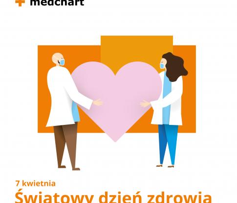 grafika medchart dzień zdrowia lekarze i serce